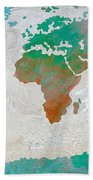 Map Of The World - Colors Of Earth And Water Beach Towel