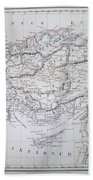 Map Of Turkey Or Asia Minor In Ancient Times Beach Towel