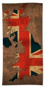 Map Of United Kingdom With Flag Art On Distressed Worn Canvas Beach Towel