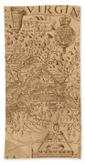 Map Of Virginia 1698 Beach Towel