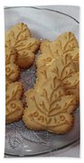 Maple Leaf Cookies And Milk - Food Art - Kitchen Beach Towel