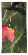 Maple Leaf On Water Beach Towel