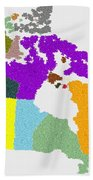 Maple Leaves Map Of Canada Beach Towel
