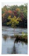 Maple Tree On A Rocky Island Beach Towel