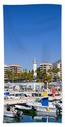 Marbella Marina In Spain Beach Towel