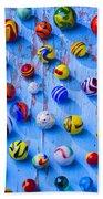 Marbles On Blue Board Beach Towel