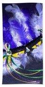 Mardi Gras On Purple Beach Towel