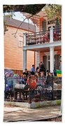 Mardi Gras Party On St Charles Ave New Orleans Beach Towel