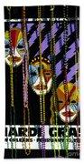 Mardi Gras Poster New Orleans Beach Towel
