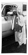 Marge Stukel Adjusting Crown Lady Liberty Parade Tucson Arizona  Beach Towel