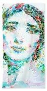 Maria Callas - Watercolor Portrait.1 Beach Towel