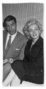 Marilyn Monroe And Joe Dimaggio Beach Towel by Underwood Archives
