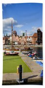 Marina And Old Town Of Gdansk Skyline Beach Towel
