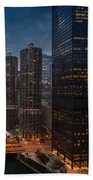 Marina City And A M A Plaza Chicago Beach Towel