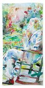 Mark Twain Sitting And Smoking A Cigar - Watercolor Portrait Beach Towel by Fabrizio Cassetta