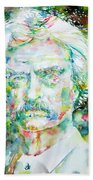 Mark Twain - Watercolor Portrait Beach Towel by Fabrizio Cassetta