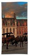Markt Square At Dusk In Bruges Beach Towel