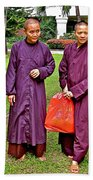 Maroon-robed Monks At Buddhist University In Chiang Mai-thailand Beach Towel