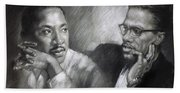 Martin Luther King Jr And Malcolm X Beach Towel