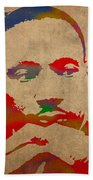 Martin Luther King Jr Watercolor Portrait On Worn Distressed Canvas Beach Towel by Design Turnpike