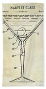 Martini Glass Patent Drawing Beach Towel