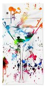 Martini Paint Splatter Beach Towel