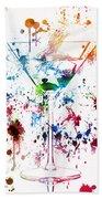 Martini Watercolor  Beach Towel