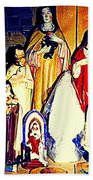 Mary Joseph And Jesus Vintage Religious Catholic Statues Patron Saints And Angels Cb Spandau Quebec Beach Towel