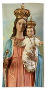 Mary Statue At Taybeh Village Beach Towel