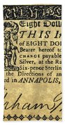 Maryland Bank Note, 1774 Beach Towel