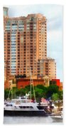 Maryland - Boats At Inner Harbor Baltimore Md Beach Towel