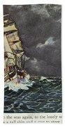 Masefield Sea Fever, 1902 Beach Towel