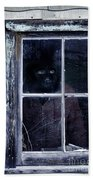 Masked Man Looking Out Window Beach Towel