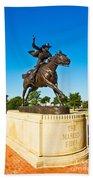 Masked Rider Statue Beach Towel