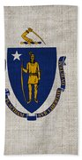Massachusetts State Flag Beach Towel by Pixel Chimp