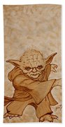 Master Yoda Jedi Fight Beer Painting Beach Sheet