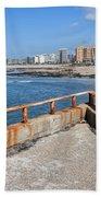 Matosinhos City Skyline In Portugal Beach Towel