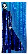Matrix Neo Keanu Reeves Beach Towel by Tony Rubino