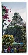 Matterhorn Mountain With Flowers At Disneyland Beach Towel