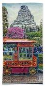 Matterhorn Mountain With Hot Popcorn At Disneyland Textured Sky Beach Towel