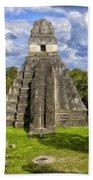 Mayan Temple At Tikal Beach Towel