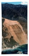 Aerial Of Mcway Landslide Big Sur California 1984 Beach Towel