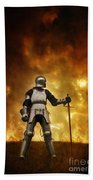 Medieval Knight In Armour On A Burning Battlefield Beach Towel