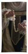 Medieval Or Tudor Woman Holding A Pearl Necklace Beach Towel