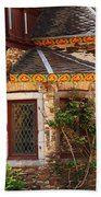 Medieval Window And Rose Bush In Germany Beach Towel
