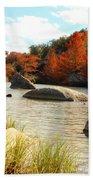 Fall Cypress At Bandera Falls On The Medina River Beach Towel