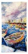Mediterranean Port Colours Beach Towel