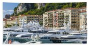 Mega Yachts In Port Of Nice France Beach Towel