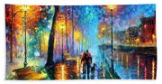 Melody Of The Night - Palette Knife Landscape Oil Painting On Canvas By Leonid Afremov Beach Towel