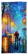 Melody Of The Night - Palette Knife Landscape Oil Painting On Canvas By Leonid Afremov Beach Sheet